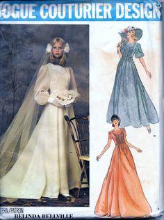 Vintage 70s Vogue Bridal WEDDING DRESS And Veil Sewing Pattern 1155 Belinda Bellville Size 14 Bust 36 UNCUT by vintagepatternstore on Etsy