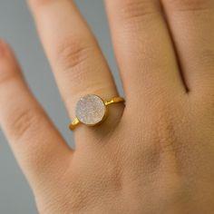 Valentine's Day  Round  Druzy Ring  Druzy Agate  by delezhen, $66.00