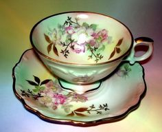 Pretty-Florals-on-Multicolor-Background-Bavaria-Schumann-Tea-Cup-and-Saucer-Set