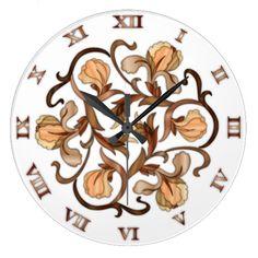 Stained Glass Flower Design - Round Clock