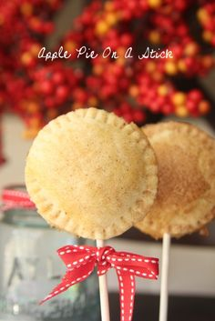 Apple Pies…On A Stick. leave stick off, great mini apple pie recipe