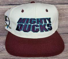 dd6e589553e Anaheim Mighty Ducks Vintage Snapback Sports Specialties Script Hat Wool  Rare OG Anaheim Ducks