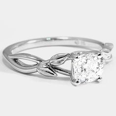 White Gold Budding Willow Ring // Set with a Carat, Cushion, Very Good Cut, F Color, Clarity Diamond Earth Rings, Thing 1, Uh Huh, Brilliant Earth, My Precious, Precious Metals, Bud, Diamond Engagement Rings, Clarity