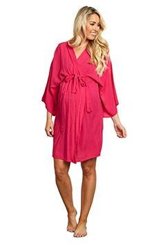 9c11a7a38c18d PinkBlush Maternity Fuchsia Solid Dressing Robe Large >>> Visit the image  link more details. Women Dresses