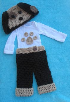 puppy, dog, doggy, paw print, layette, coming home outfit, 3 piece set, baby shower gift, newborn, character hat, costume, Halloween, knit, crochet