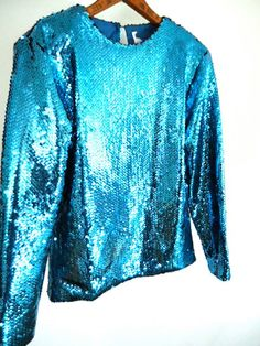 GLAM 80s Sequined Electric Blue Top Women's by GnarlyNutmeggers, $32.00