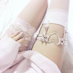 lace white socks garter pink pretty jewels girly thigh highs thigh high socks spikes heart socks white
