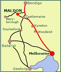 Maldon and neighbouring towns: link opens enlarged map with roads named Maldon Victoria, Daylesford, Victoria Australia, Melbourne Australia, Roads, Change, Map, History, Country