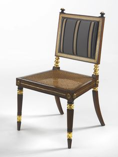 c1815 A pair of Regency ormolu-mounted brass-inlaid ebony and oak caned side chairs circa 1815, Attributed to George Bullock Estimate 5,000 — 7,000 USD LOT SOLD. 9,375 USD (Hammer Price with Buyer's Premium)