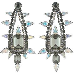 Elizabeth Cole Aurora Borealis Pear Drops ($392) ❤ liked on Polyvore featuring jewelry, earrings, post drop earrings, pear earrings, elizabeth cole jewelry, hematite earrings and elizabeth cole