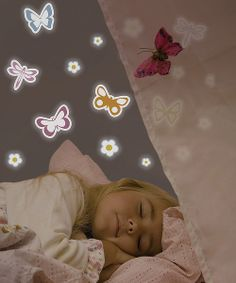 Glowing butterflies flutter across bedtime walls as little ones drift off into dreamland. These glow-in-the-dark butterfly decals come in a variety of fresh colors and look darling during the daytime too. Plus, they're easy to apply, remove and reuse to suit changing needs.