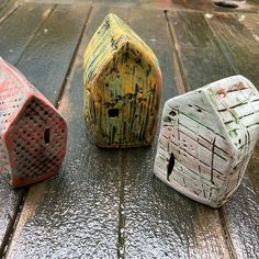 """Gretchen Siegrist on Instagram: """"Have these three little houses up at the MIVAL Gallery as part of their Treasures in Miniature show. Runs through Oct 31. . . . .…"""" Oct 31, Ceramic Houses, Three Little, Little Houses, Third, Miniatures, Ceramics, Gallery, Pattern"""