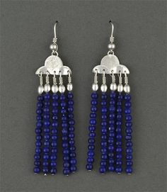 Hand engraved sterling silver earrings with lapis lazuli beads by Howard Sice (Hopi/Laguna Pueblo)
