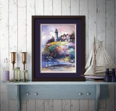 """The Lightkeeper"" - Watercolor Print by Michael David Sorensen Watercolor Landscape, Watercolor Print, Watercolor Paintings, Watercolors, Wood Pallet Art, Lighthouse Painting, Office Wall Decor, Cute Drawings, Fine Art Paper"