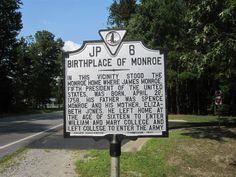 James Monroe Birthplace - Westmoreland County, Virginia