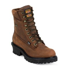 Brown Steel Toe Lace Up Men's Workboot by Justin
