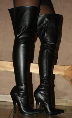 TOP Overknee Stiefel Damenschuhe High Heels 4320 Schwarz 36