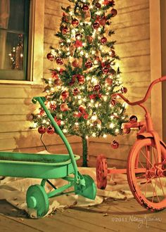 Vintage Christmas...love this so much! I will just use my rusty wagon and trike.