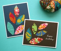 Homemade fabric cards: This would make a REALLY simple B'moms craft day. Fabric samples, Bazzill paper, metallic pens, maybe some stamps. Fabric Postcards, Fabric Cards, Paper Cards, Cute Cards, Diy Cards, Scrapbook Cards, Scrapbooking, Karten Diy, Creative Cards