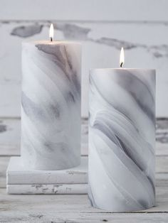 Marbled Pillar Candle The beauty of natural stone is recreated in this faux marble candle, which has wonderfully realistic ripples and veins of soft grey wax. #nordichouse #candles #marble