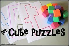 DIY: Cube Puzzles - Pinned by – Please Visit for all our pediatric therapy pins - fine motor, hand-eye coordination Rainy Day Activities, Motor Activities, Preschool Activities, Summer Activities, Math Classroom, Kindergarten Math, Visual Perceptual Activities, Pediatric Occupational Therapy, Cube Puzzle