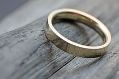 14k Yellow Gold Wedding Band with Polished by JCMetalsmithJewelry