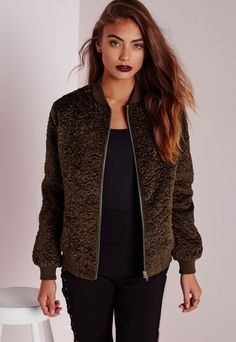 Wool Bomber Jacket Khaki - Coats and Jackets - Bomber Jackets - Missguided
