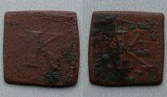 Kinsale, town issue square farthing ??? Obv: Capital K with beaded outer square. Rev: Capital K of a different style with beaded outer square. c. 1641 - 1652 Material: Copper. Dimensions: Max 15mm x 15mm. Weight: 1.42 grams or 21.9 grains. No reference for this style known to me. Different Styles, Banana Bread, Cities, Grains, Copper, Desserts, Food, Tailgate Desserts, Meal