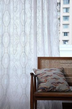 A beautiful accent to your printed furnishings. Our curtain designed in an ever changing depth of viewpoint, is deftly captured in a stunning conception of a geometric abstraction. Sheer Drapes, Cotton Curtains, Sheer Fabrics, Panel Curtains, Large Furniture, Furniture Design, Latest Curtain Designs, Extra Long Curtains, Thick And Thin