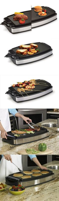 Wolfgang Puck Indoor Electric Reversible Grill & Griddle 1800-watt reversible grill/griddle with 207-square-inch cooking surface. Adjustable temperature control; nonstick surface for effortless food release. Grease channels promote healthier cooking; removable drip tray. Safety interlock system; heat-resistant handles for safe transport. Measures approximately 16-1/2 by 24-2/3 by 7-4/5 inches.  #Wolfgang_Puck #Kitchen
