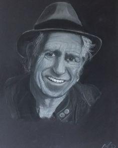 Pastelportret A3 formaat op zwart papier 250 gr Keith Richards, A3