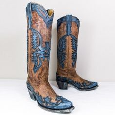 Brown and Turquoise Ladies Eagle Boot by Corral Boots ... these just literally made me say 'whoa' out loud. love Corral !!!
