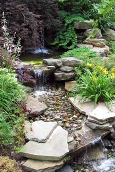 Waterfall Landscape Design Ideas nj natural swimming pools raised spa natural boulder waterfall and water slide Waterfall Landscaping Design