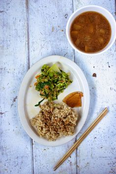 Brown Rice, Pressed Salad, Pickles, Miso Soup