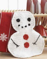 Winter Snowman Dishcloth - free crochet pattern
