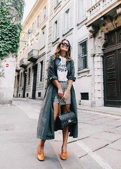 Trench coat + tee + gingham miniskirt + block heels