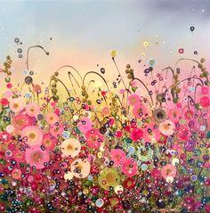 Leanne Christie  Original Oil Embellished Artwork #Flowers #Colour #home #ideas #gift #garden #flowerscapes #glitter #happy #pink www.leannechristie.co.uk