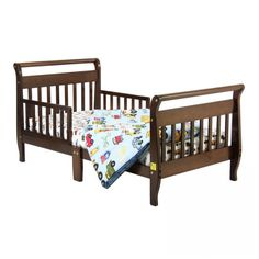Dream On Me Sleigh Toddler Bed in Cherry - - Toddler Beds - Nursery Furniture - Baby & Kids' Furniture - Furniture Mattress Cleaning, Crib Mattress, Clean Mattress, Nursery Furniture, Kids Furniture, Wooden Toddler Bed, Bed Rails, Sleigh Beds, Wood Beds