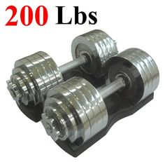 One Pair of Adjustable Dumbbells Chrome Plated Metal Total 200 Lbs 2 X 100 Lbs with Trays *** Details can be found by clicking on the image.