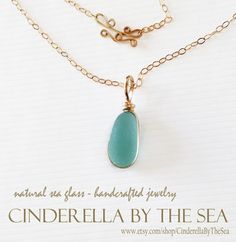 Sea Glass Genuine Sea Glass Sea Glass by CinderellaByTheSea Sea Glass Necklace, Sea Glass Jewelry, Pendant Necklace, Jewel Of The Seas, Mermaid Tears, Timeless Beauty, Teal Blue, Handmade Necklaces, Precious Metals