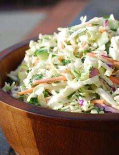 No Mayo Coleslaw, Jalapeno Coleslaw, Budget Freezer Meals, Frugal Meals, Budget Recipes, Slaw Recipes, Healthy Recipes, Healthy Salads, Camila Alves