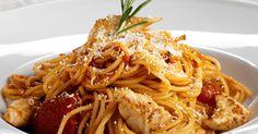 En populær pastaret med tomat og kylling. Helt enkel men fuld af dejlig smag.