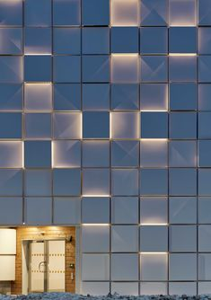 The car park becomes a bright urban landmark, Umea, Sweden – Client: INAB AB – Architectural project: TM Architects – Christoffer Andersson – Lighti… - Ditgdla Retail Facade, Shop Facade, Facade House, Mall Facade, Wooden Facade, Concrete Facade, Brick Facade, Building Exterior, Building Facade