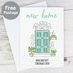 Personalised New Home CardThis personalised New Home card is a super cute way to celebrate the moving in to a brand new pad!An adorable illustration of a front door, surrounded by plants and flowers.The card has the following fixed wording 'New Home'Personalise this card withFront:Door Number - up to 4 NumbersLine 1 - up to 20 CharactersLine 2 - up to 20 CharactersInside:Line 1 - up to 25 CharactersLine 2 - up to 25 CharactersLine 3 - up to 25 CharactersLine 4 - up to 25 CharactersLine 5 - up to New Home Cards, House Of Cards, New Home Greetings, Personalized Memorial Gifts, Teacher Thank You Cards, Housewarming Card, Personalised Christmas Decorations, Moving Home, Special Symbols