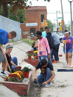 First project of the year: beautifying the beds before our building on MLK in the Harambee district of Milwaukee, with mums given to each new 9th grader by a member of the Tamarack Waldorf School faculty.