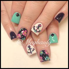 Anchor nails. Nail art. Summer nails. Flower print.