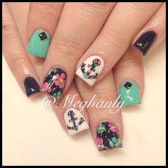 Anchor nails. Nail art. Summer nails. Flower print.