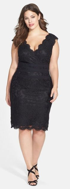 cool Plus Size Embroidered Lace Sheath Dress...