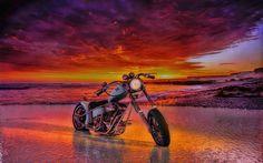 sunset 3D Render Custom motorcycle - 3D Render Custom motorcycle