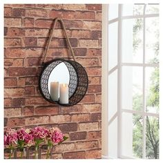 Danya B™ Round Mirror Pillar Candle Sconce with Filigree Metal Frame and Hanging Rope : Target
